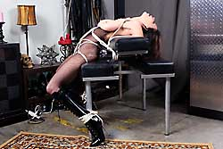 Ashley Renee in bodystockings tied up