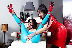 Ashley Renee in latex tied up by Julie SImone