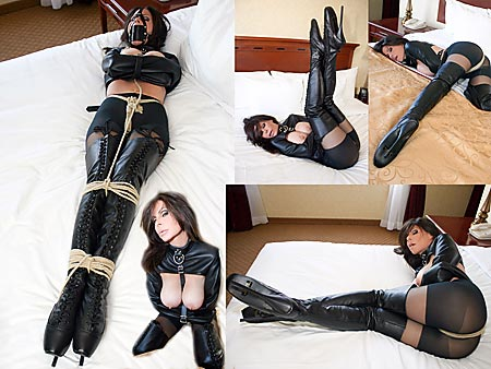 Leather Asian Dominates Tied, Gagged Slave Boy