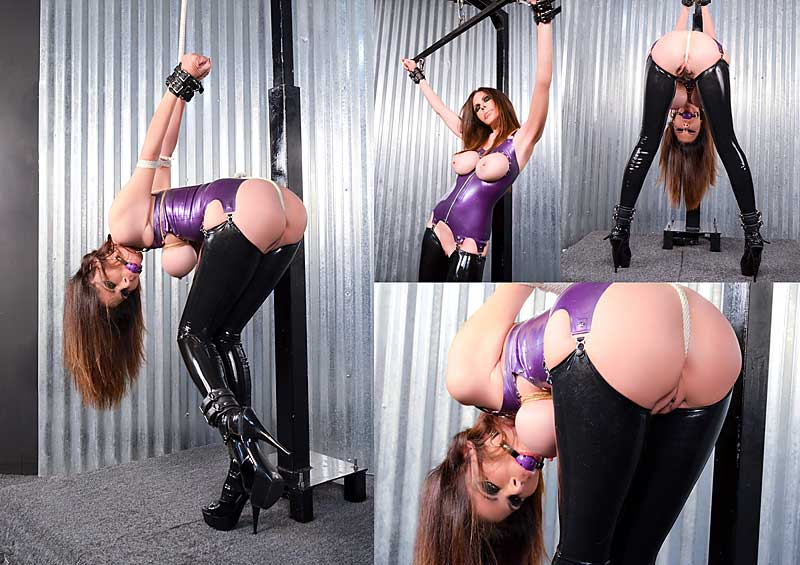 Ashley Renee in latex tied up in strappado by Lorelei