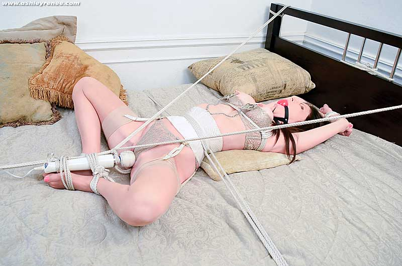 Ashley Renee tied & vibed on bed