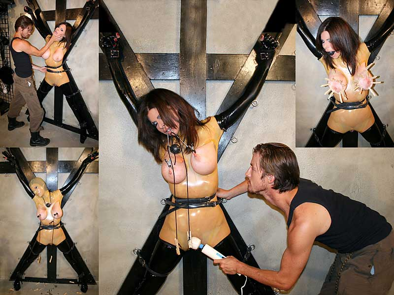 Ashley Renee in latex lingerie, flogged, wanded while tied to X cross