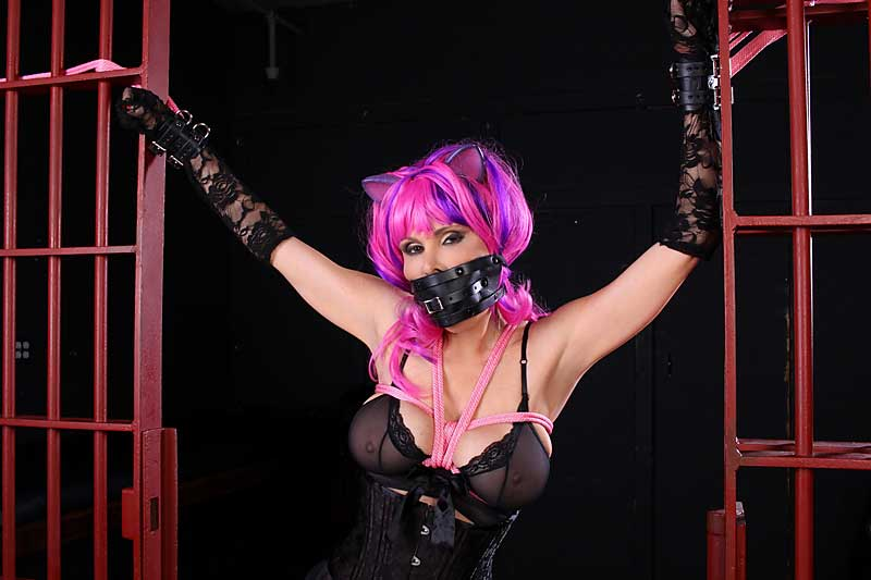 Kitty Ashley Renee tied up and gagged in Dungeon