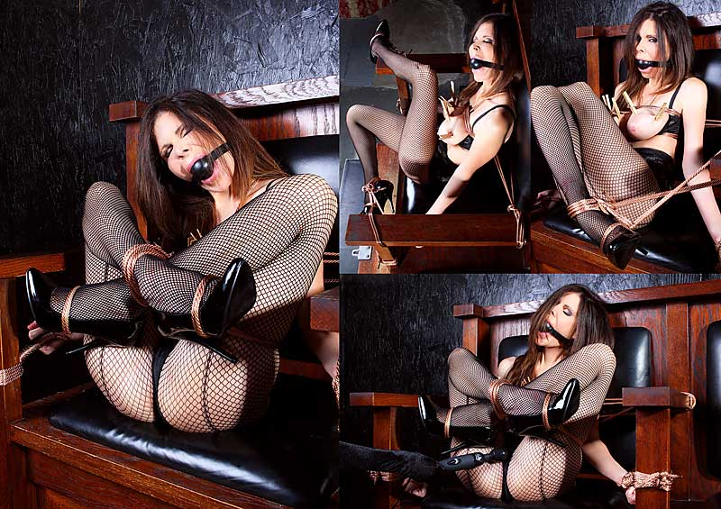 Ashley Renee in fishnet pantyhose tied up in lotus position